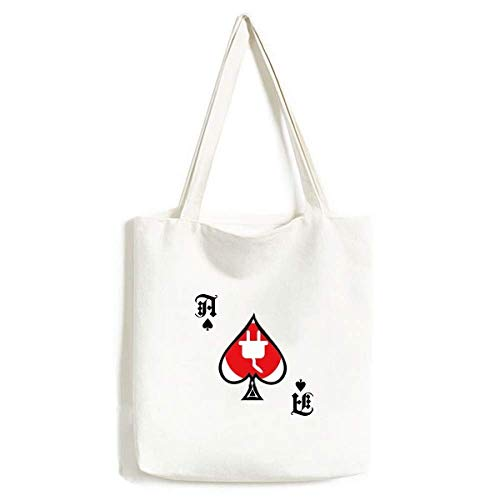 Red Plug Cable Charging Cable Pattern Handbag Craft Poker Spade Bolsa Lavable