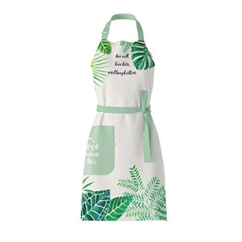 Nette Schürze kreativen Grill Backen Schürzen for Frauen wasserdichte Smock Oilproofed Küche Wasserdicht mit großen Taschen (Color : Green)