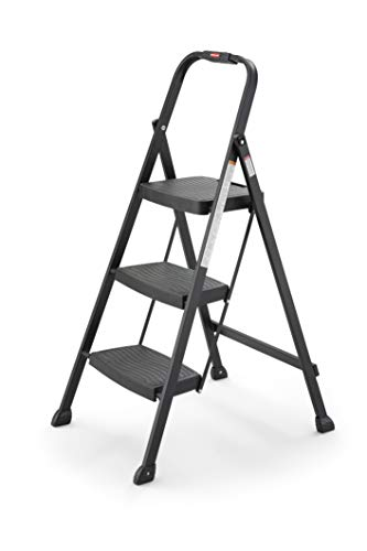 Rubbermaid RM-3W-2B Steel Frame 3-step Folding Step-stool with Hand Grip and Plastic Steps, 250-pound Capacity, Black Finish