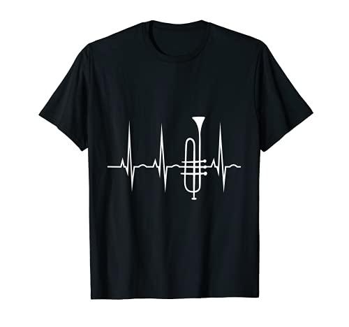 Trompete T-Shirt - Herzschlag Trompeter EKG Herzlinie