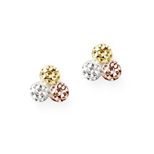 Golf Ball Cluster Earrings - Tri Color 14k Gold Golf Bag