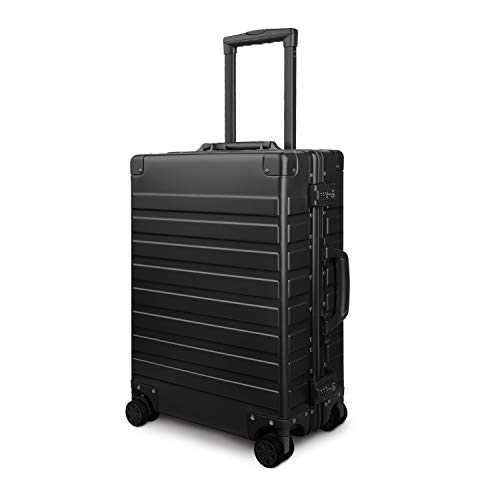 Travelking All Aluminum Carry On Luggage with TSA Locks Metal Hard Shell Spinner Suitcase ( New Arrival Black , 20 Inch )