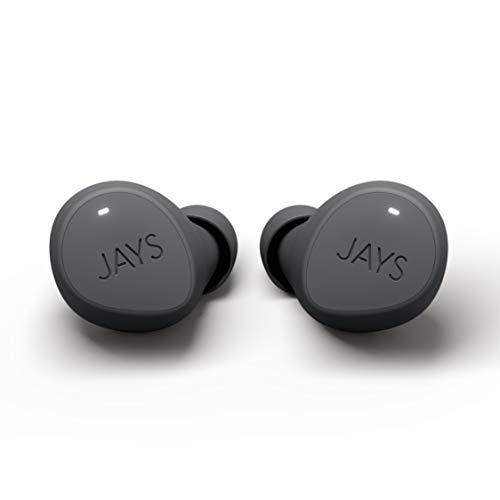 JAYS Auriculares Bluetooth en el oído - m-Five - Gris - Verdaderos Auriculares Deportivos inalámbricos con una duración de hasta 18 Horas de batería, Aptos para iOS y Android