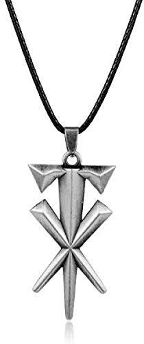 Zaaqio Collar con Colgante de Cruz geométrica con Personalidad de Moda, Collar de cordón de Cuero, Accesorios geniales de Metal, Regalos para Hombres