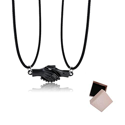 SDFNJK Collar De ApretóN De Manos MagnéTico - Collar De Pareja con ApretóN De Manos AutomáTico, Collar con Colgante A Juego con Caja De Regalo, para Su Novia, Esposa 50+5cm Mudo