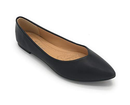 Women's Casual Pointed Toe Ballet Flats Comfort Classic Slip Ons (8 US, 85BLACK)