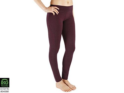 Chin Mudra Yoga Leggings 95% Cotone Biologico e 5% Lycra–Prugna, Viola, M