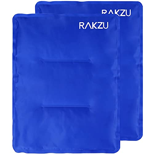 Ice Pack for Injuries, RAKZU 2 Pack 14' X 11' Large Reusable Gel Ice Cold & Hot Soft Therapy Pack Flexible Long Lasting Pain Relief for Shoulder, Knee, Back, Hip, Injuries, Aches