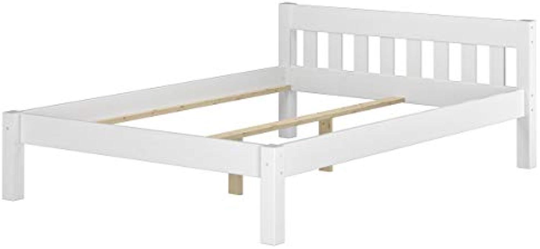 Erst-Holz Massivholzbett Kiefer wei Einzelbett 120x200 Bettgestell ohne Rollrost Futonbet 60.38-12 W oR