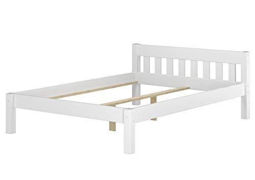 Erst-Holz® Massivholzbett Kiefer weiß Einzelbett 120x200 Bettgestell ohne Rollrost Futonbet 60.38-12 W oR