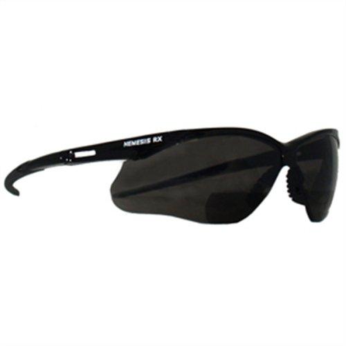Reading Safety Glasses, Nemesis RX, Black Frame/Smoke Lens, +2.5