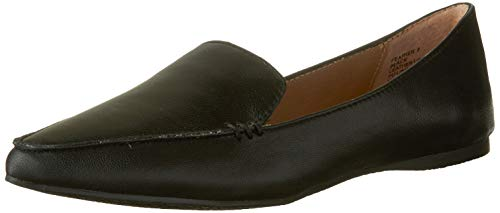 Steve Madden Women's Feather Loafer Flat, Black Leather, 6.5 M US