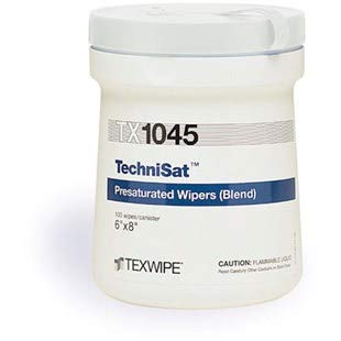 Texwipe TX1045 TechniSat TechniCloth Nonwoven Presaturated 70% IPA Wipes 6 x 8 100/Canister