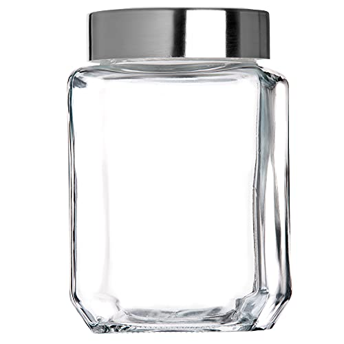 KADAX Tarro de cristal con tapa de plástico, recipiente de alimentos de cristal, bote para pasta, espaguetis, especias, tarro hermético (300 ml, transparente)