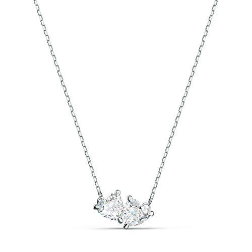 Swarovski Attract Soul Halskette, Weiße und Rhodinierte Damenhalskette mit Funkelnden Swarovski Kristallen