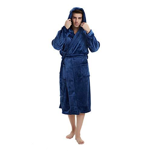 U2SKIIN Mens Fleece Hooded Robe Plush Bathrobe (Navy Blue, S/M)