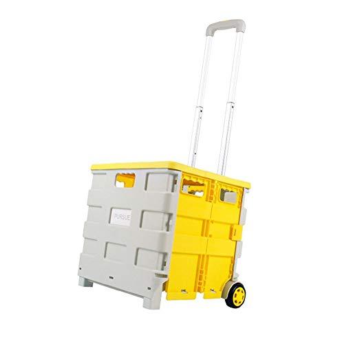 Heavy Duty Opvouwbare Winkelwagen 40 Kg Wielen Crate Box Boot Winkelwagen Opvouwbare Boot Winkelwagen Opgevouwen Opbergdoos Wielen Crate 54 Liter Telescopische Handvat
