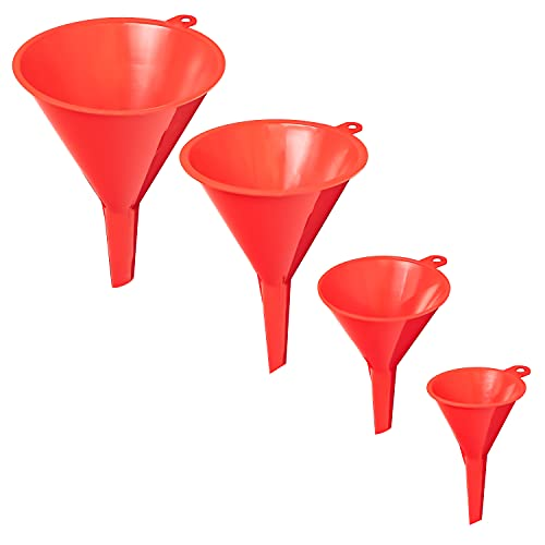 Nirox Juego de 4 Piezas de Embudo Universal - Práctica Ayuda para el llenado con Ojales para un fácil Almacenamiento - Miniembudo de llenado para la Cocina o el Taller - Embudo de Aceite
