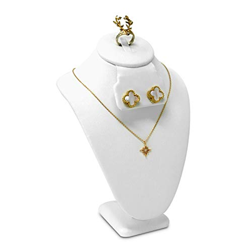 Mooca Small Combination Necklace, Ring, and Earring Bust Display, Necklace Chain Jewelry Bust Display Holder Stand, Faux Leather Necklaces Display Necklace Mannequin, White Faux Leather