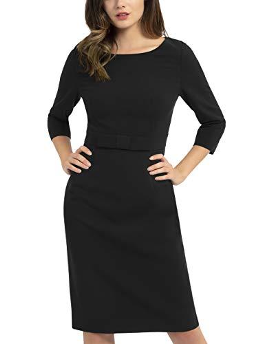 APART Damen Elegantes Brautkleid mit Schleife in der Taille, schwarz, 36