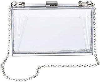 Women Clear Crossbody Purse Acrylic Transparent Clutch Bag Shoulder Handbag With Gold Chain Strap