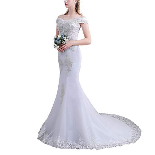 Damen Hochzeit Frauen Lace Chiffon V-Ausschnitt One-Shoulder Mermaid Bankett Party Party Brautkleid für die Braut, L-F, Weiß, s