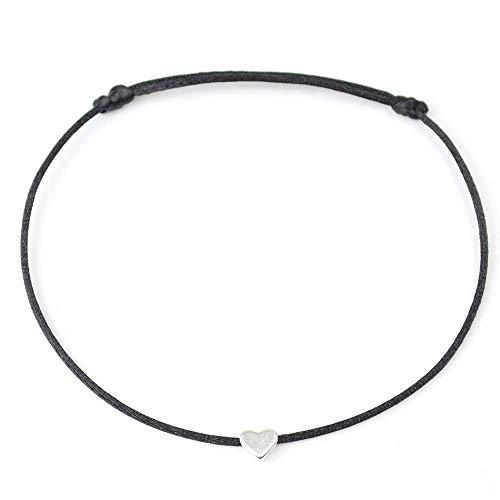 Fußkettchen Schwarz mit Silber Herz - Größenverstellbar - Sommer Fußbändchen mit Herzchen Satinband