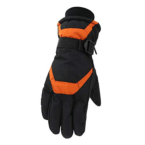 Tollmllom - Guanti da sci da uomo invernali caldi e impermeabili, isolati, per arrampicata su roccia, escursionismo, sci, guida, ciclismo, corsa, arrampicata (colore: arancione, taglia: L)