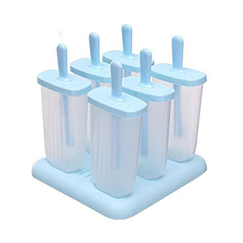 6 pcs cuadrada diseño Ice Cream Pop moldes helados Popsicle Moldes Frozen Ice Cream Pop de yogur en Jelly Mold Popsicle Maker caracol molde bandeja Pan Set para niños/children-hot, New Blue