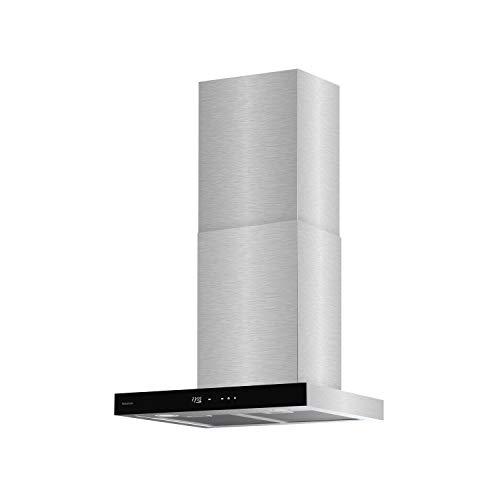 Taurus T60IXAL - Campana extractora decorativa, acero y cristal negro, ancho 60cm, 650m3/h de extracción, 3 velocidades, táctil, eficiencia A, LED, 200W, filtros aluminio lavables multicapa