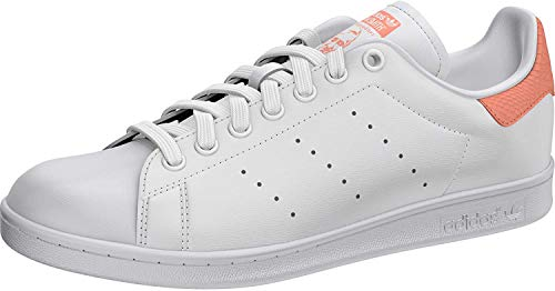 adidas Womens Stan Smith Sneaker, Footwear White/Footwear White/Chalk Coral, 39 1/3 EU