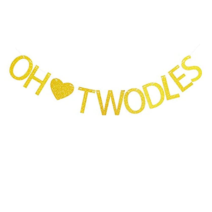 Oh Twodles with Gold Heart Banner for Baby Boy/Girl's 2nd Birthday Party Sign Decorations