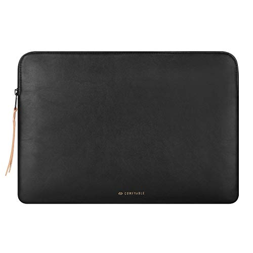Comfyable Slim Protective Laptop Sleeve 13-13.3 inch Compatible with 13 inch MacBook Pro & MacBook Air, PU Leather Bag Water-Repellent Cover Notebook Computer Case for Mac, Black