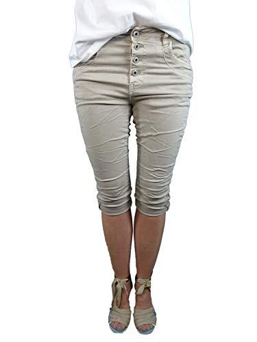 Karostar by Lexxury Donna Baggy Boyfriend Elasticizzato Pantaloncini Bermuda Capri Trascurato Pantaloni con Bottoni Metallo Palle Rotondo Borchie - Beige, L