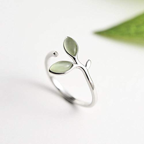 PRAK Damen Ring 925 Sterling Silber Verstellbar,Grüne Blätter Opal Knospen Öffnen Ringe Für Womencreative Modeschmuck Kreativ Sekt Süß Verschleiß Geburtstagsgeschenk