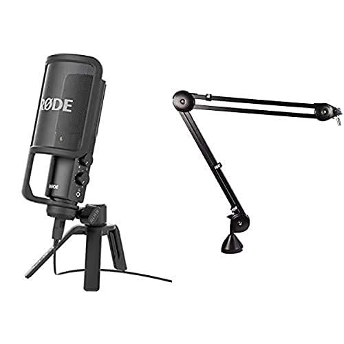 Rode Microphones NT-USB Microfono a Condensatore con Filtro Anti-pop e Supporto da Tavolo, Compatibile con iPad, Cavo USB da 6 m, Nero/Antracite & PSA1 Braccio Portamicrofono da Studio Professionale