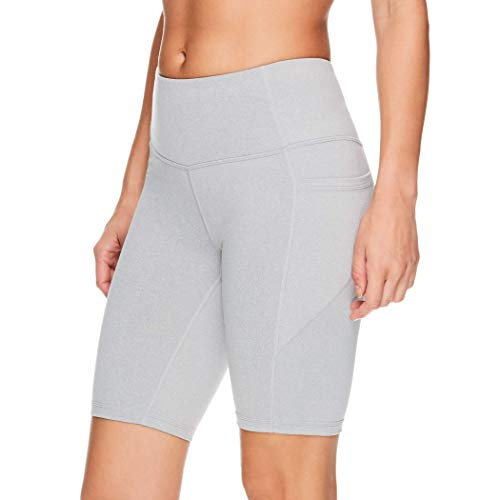 Reebok Women's Compression Running Shorts with Side Phone Pocket - High Waisted Performance Workout Bike Short - 9.5 Inch Inseam - Grey Heather, X-Large