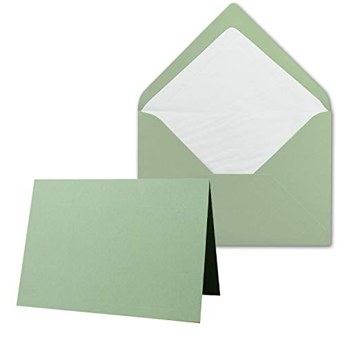 25 x Kartenpaket mit gefütterten Brief-Umschlägen - gerippt - DIN A6/C6 - Olive-Grün - 10,5 x 14,8 cm - Nassklebung - NEUSER PAPIER