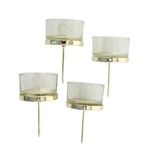 Unbekannt 4 STÜCK Windlicht Stecker Gold Farben Glas Metall Windlichtstecker Kerzenstecker Adventskranz Teelichthalter Kerzenpick Kerzenhalter für Kränze zum Stecken