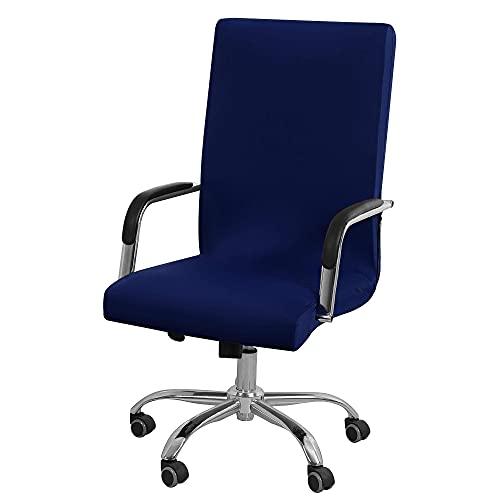 Funda para silla de oficina Funda para silla de ordenador con cremalleras para silla giratoria de oficina, Funda para silla de escritorio elástica lavable con respaldo alto Azul marino Grande