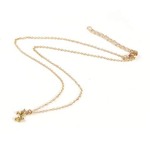 ZengBuks Langlebige Legierung Anhänger Halskette nickelfrei raffinierten weiblichen Schmuck mit Einhorn Form Anhänger für Frauen & Mädchen - golden