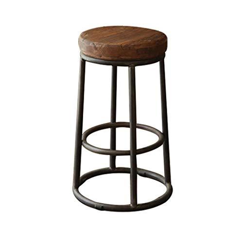 WYBW Taburetes de bar café, taburete de bar Loft, silla de bar de madera maciza, taburete de bar de hierro forjado retro, taburete de bar, taburete de café, una variedad de tamaños,36 * 36 * 45cm