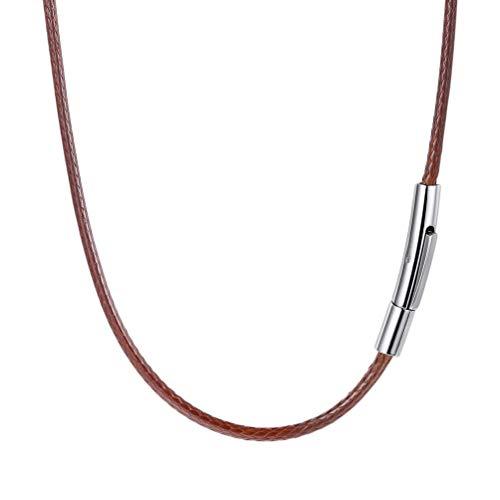 PROSTEEL Collar de Cordón para Hombre, Negro/Marrón/Blanco/Rojo/Rosado, 2mm/3mm Cadena de Cuero con Cierre de Acero Inoxidable Collar Básico, 41cm/46cm/50cm/55cm/61cm/66cm/71cm/76cm con Caja d