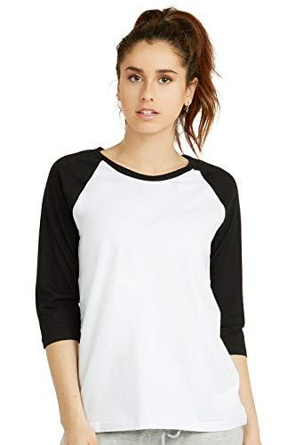 Cottonbell Women's Baseball Quarter Sleeve Tee Shirt (M, White/Black)