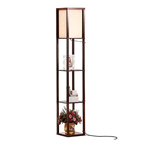 Brightech Maxwell - LED Shelf Floor Lamp - Modern Standing Light for Living Rooms and Bedrooms - Asian Wooden Frame with Open Box Display Shelves - Havana Brown