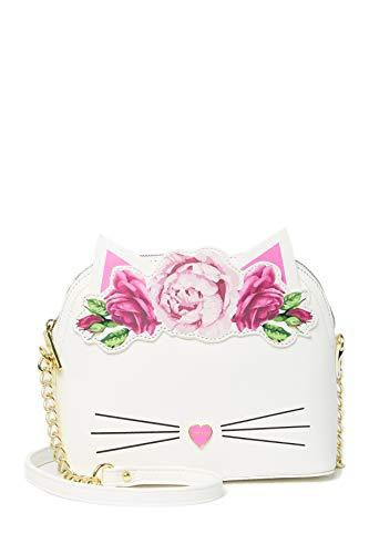 Betsey Johnson Floral Kitty Cat Crown Applique Pink Heart Nose Detail Trim Handbag Crossbody
