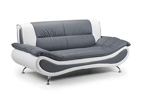 Honeypot - Sofa - Napoli - Faux Leather - 3 Seater - White/Grey