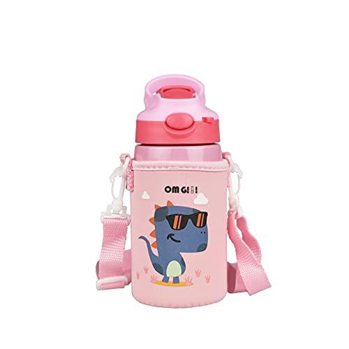 TRIWORIAE-Portatile Borraccia in Acciaio Inox Termica Bottiglia d'Acqua Sportive per Mantenere Caldo e Freddo, Borracce per Bambini Bimbo 400ML Rosa