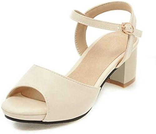 Damen-Sandalen Damen-Sandalen Damen-Sandalen mit hoher Ferse, Größe 31-47, 4 Farben, offener Zeh, Dicker Fersenschnalle, einfache Damen-Sommerschuhe, Beige (beige), 37 EU  Neuheiten der neuen Produkte