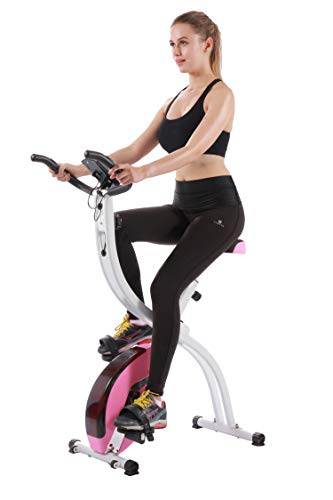 YYFITT Basic Foldable Fitness Exercise Bike with 16 Level Resistance, Countdown Exercise Monitor, Phone/Tablet Holder and Hand Pulse for Home Use (Pink)